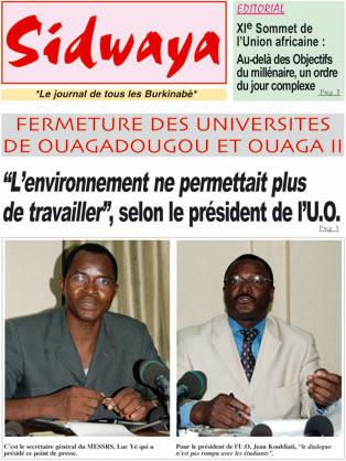 La Une de Sidwaya du 30 Juin 2008